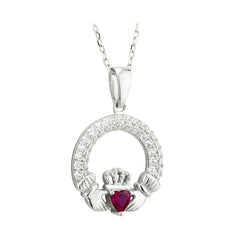 July Birthstone Claddagh Pendant with CZ's