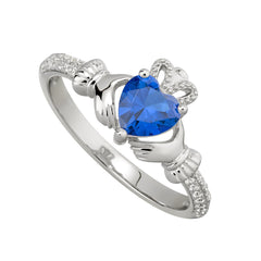 Sterling Silver Birthstone Claddagh Ring - September Blue Sapphire