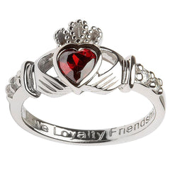 Sterling Silver Claddagh January Birthstone ring