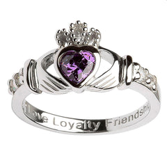 Sterling Silver February Birthstone Claddagh Ring