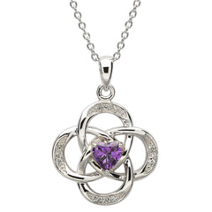 Celtic February Birthstone Sterling Silver Pendant