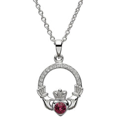 Sterling Silver with Crystal February Birthstone Claddagh Pendant