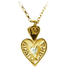 Gold Mo Anam Cara Heart Pendant with CZ