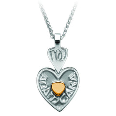 Sterling Silver with Gold Bead Mo Anam Cara Heart Pendant