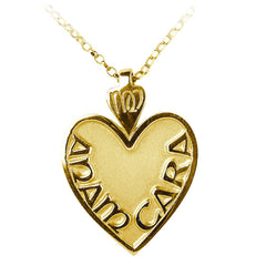 Large Gold Mo Anam Cara Heart Pendant Necklace