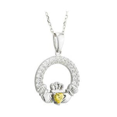 august birthstone claddagh pendant with swarvoski crystals