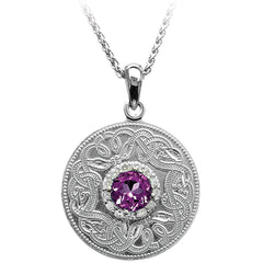 Celtic warrior pendant with purple amethyst CZ stone
