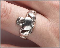 How to wear a Claddagh ring on right left with heart facing towards you.