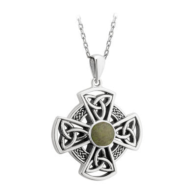 Sterling Silver Connemara Marble Celtic Cross Pendant Necklace