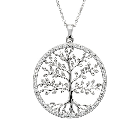 Tree Of Life Pendant Circled With Swarovski Crystals