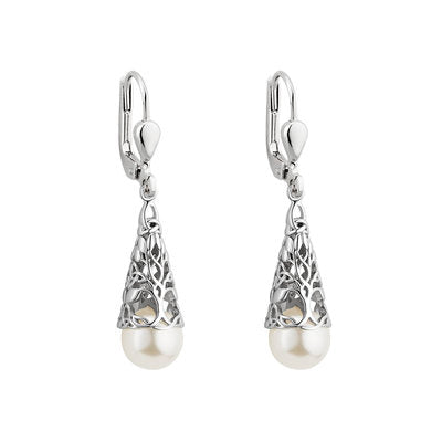 sterling silver tree of life earrings with freshwater pearl