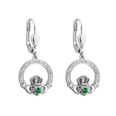 Sterling Silver Crystal Illusion Claddagh Earrings