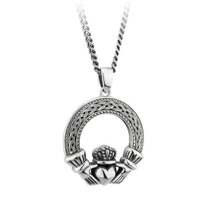 Sterling Silver Oxidized Claddagh Necklace