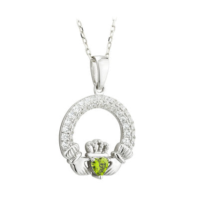 August birthstone claddagh pendant necklace