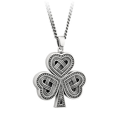 Sterling  Silver Oxidized Celtic Shamrock Necklace