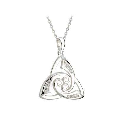 Sterling Silver CZ Twist Trinty Knot Pendant Necklace