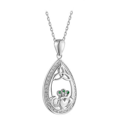 Sterling Silver Oval Claddagh Pendant with Green Crystals