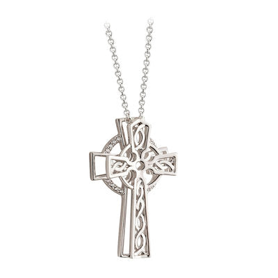 Sterling Silver Double Celtic Cross Pendant with Crystals