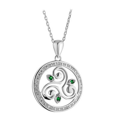Sterling Silver Green Crystal Spiral Necklace