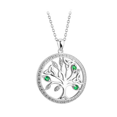 Sterling Silver Crystal  Illusion Green and Clear Tree of Life Necklace
