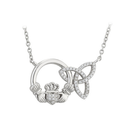 Silver Interlocking Claddagh and Trinity Knot CZ Necklace