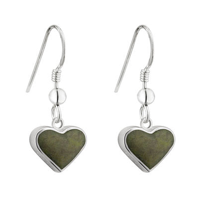 Sterling Silver Connemara Marble Heart Drop Earrings