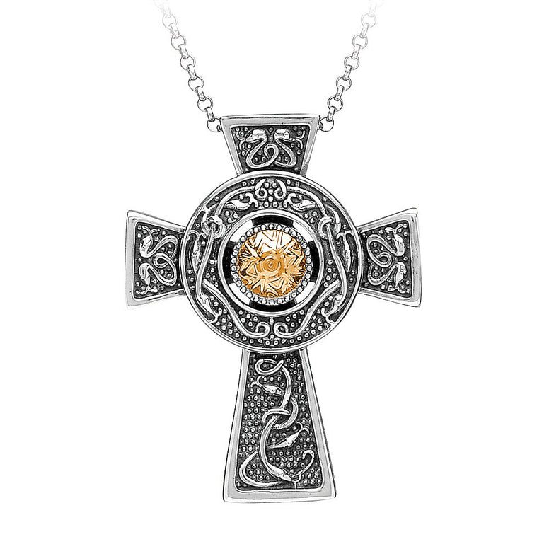 Wood Quay Oxidized Silver & Gold Celtic Cross Necklace