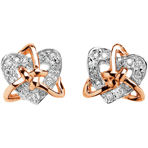 trinity knot earrings with cz heart