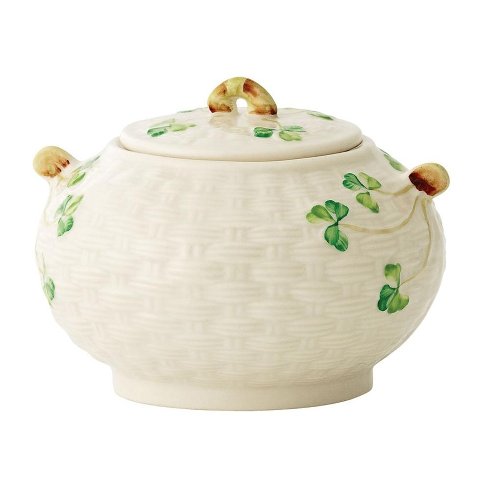 Belleek Shamrock Covered Sugar Bowl