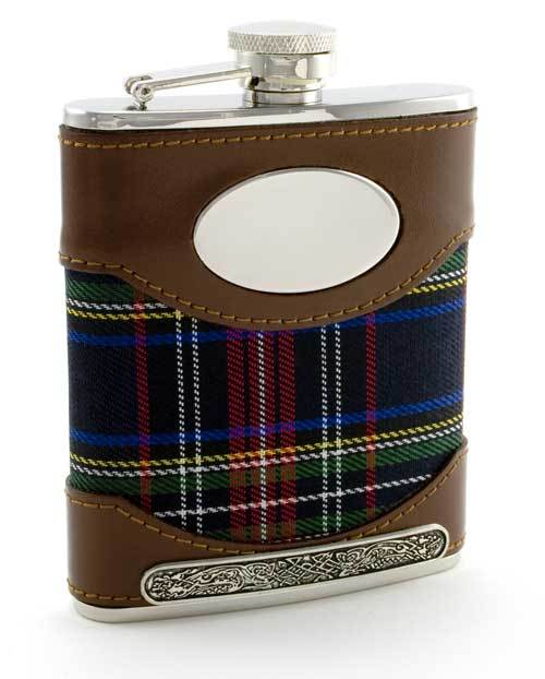 Mullingar Pewter Tartan Plaid Flask