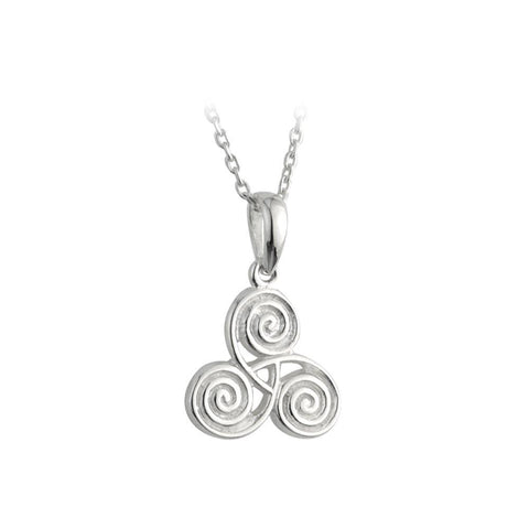 Sterling Silver Newgrange Celtic Spiral Necklace