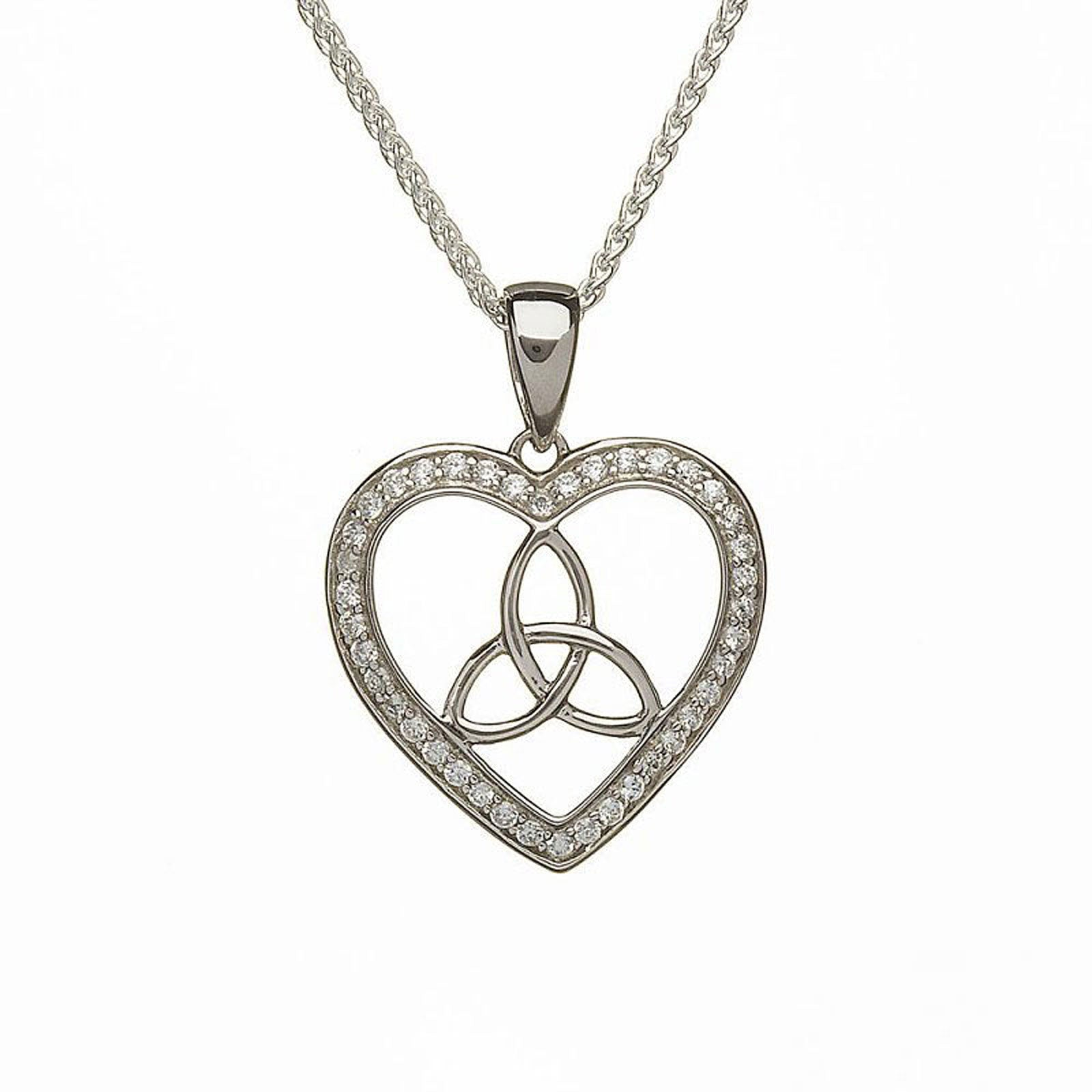 Sterling silver heart shaped cubic zirconia trinity pendant sterling silver heart shaped cubic zirconia trinity pendant aloadofball Gallery