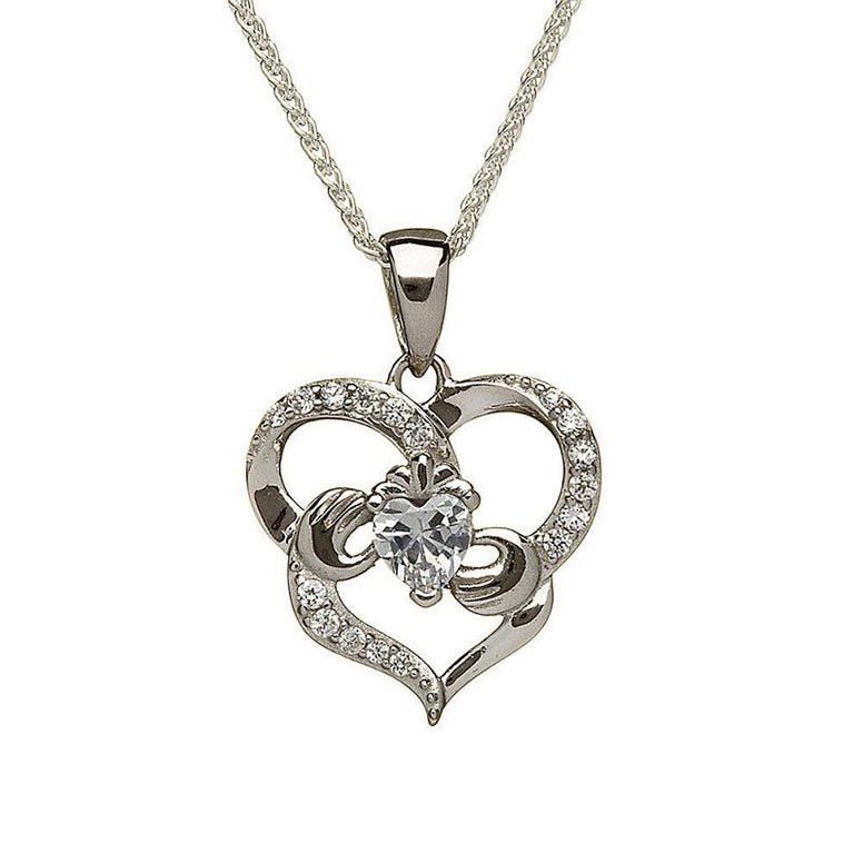sterling silver claddagh heart necklace