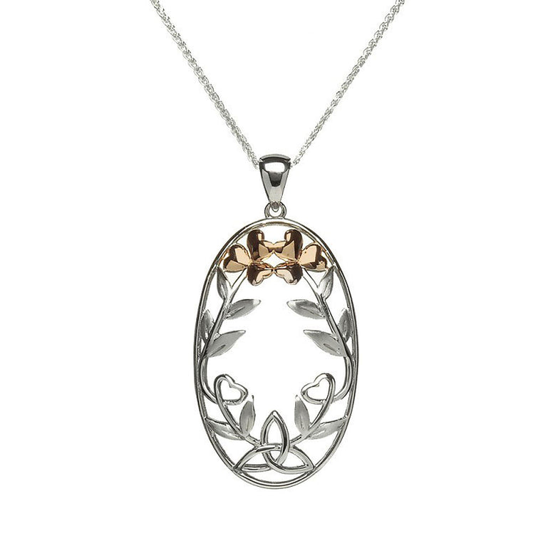 trinity knot necklace pendant with gold petals