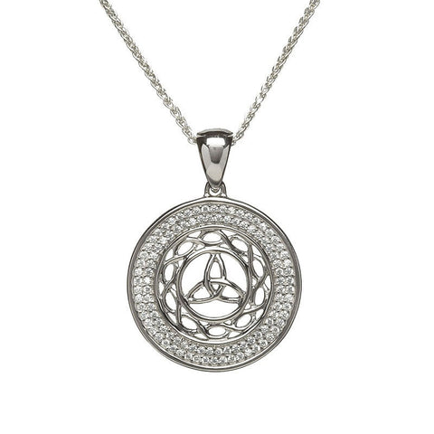round trinity knot pendant necklace with CZ