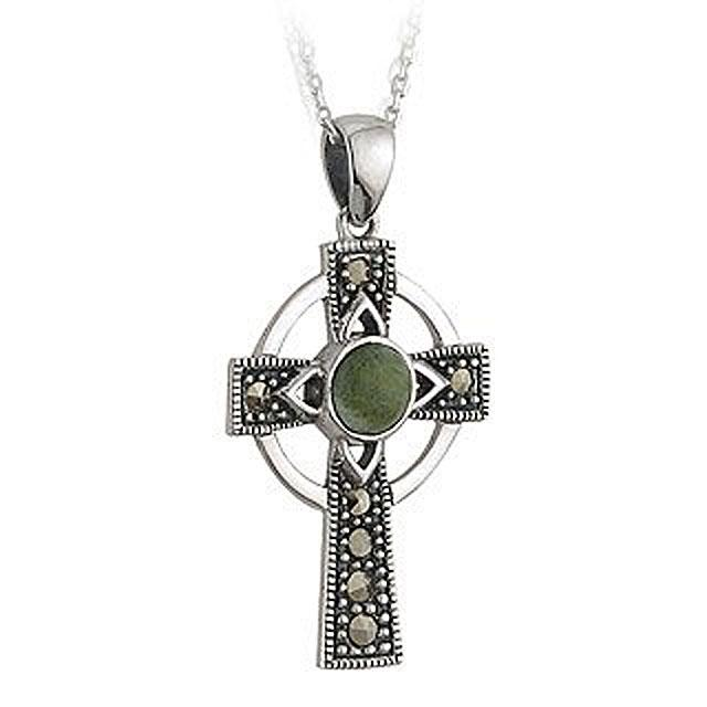 Sterling Silver Marble And Marcasite Celtic Cross With Chain