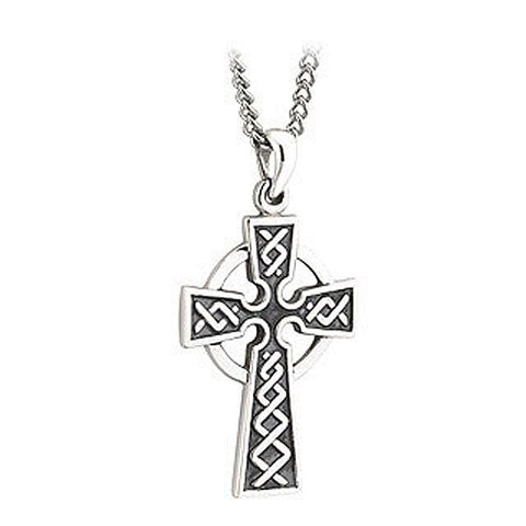First Communion Sterling Silver Oxidized Celtic Cross Pendant With Chain