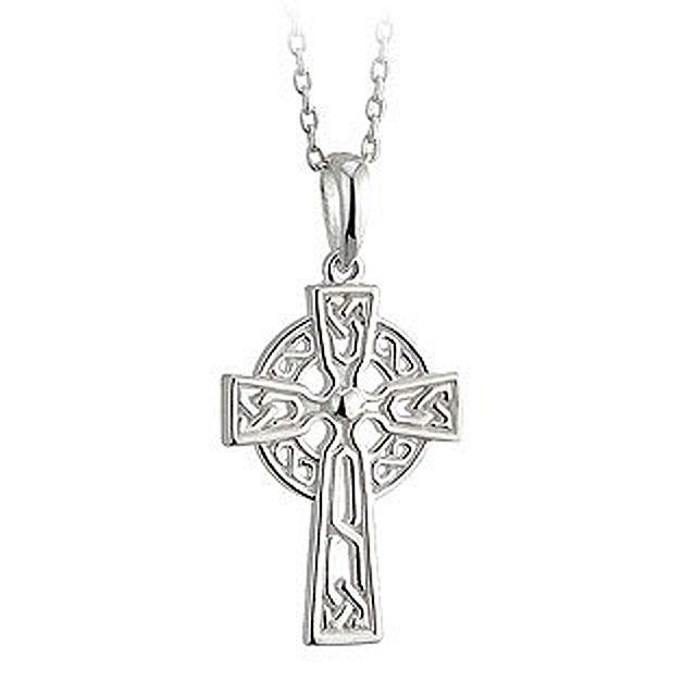 Irish Sterling Silver Filigree Celtic Cross With Chain