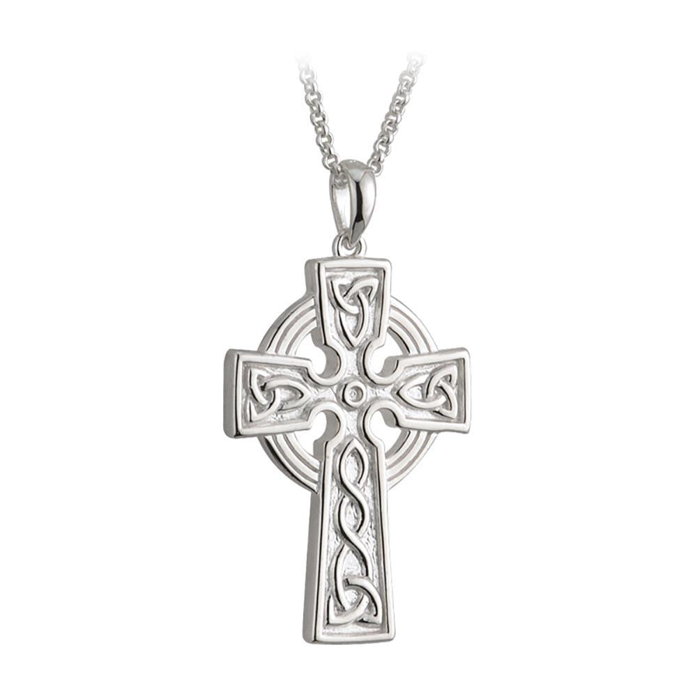 Sterling Silver Large Double Sided Cross Pendant With Chain