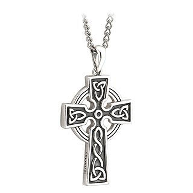 First Communion Sterling Silver Embossed Double-Sided Celtic Cross With Chain