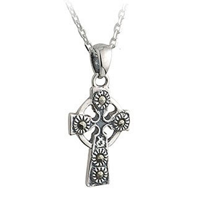 Irish Sterling Silver Marcasite Stone Celtic Cross With Chain