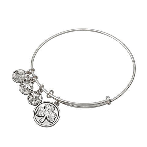 Expanding Antique Rhodium Crystal Shamrock Charm Bangle Bracelet
