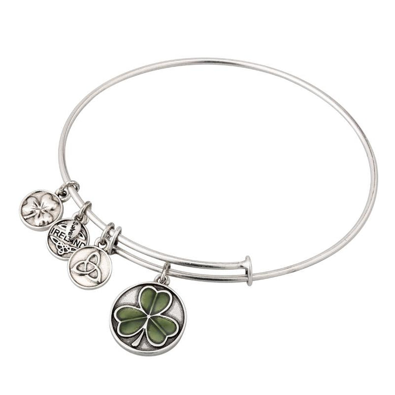 Enamel Shamrock Charm Expanding Antique Silver-Tone Bangle Bracelet