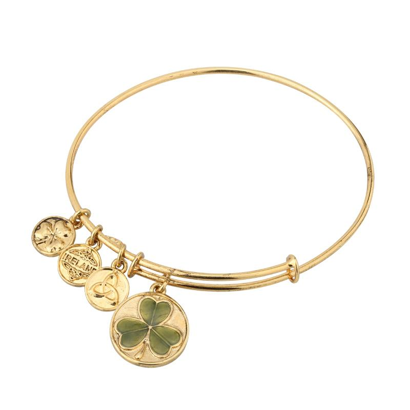 Enamel Shamrock Charm Expanding Antique Gold-Tone Bangle Bracelet