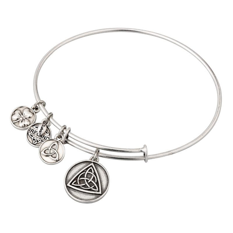 Celtic Knot Charm Expanding Antique Silver-Tone Bangle Bracelet