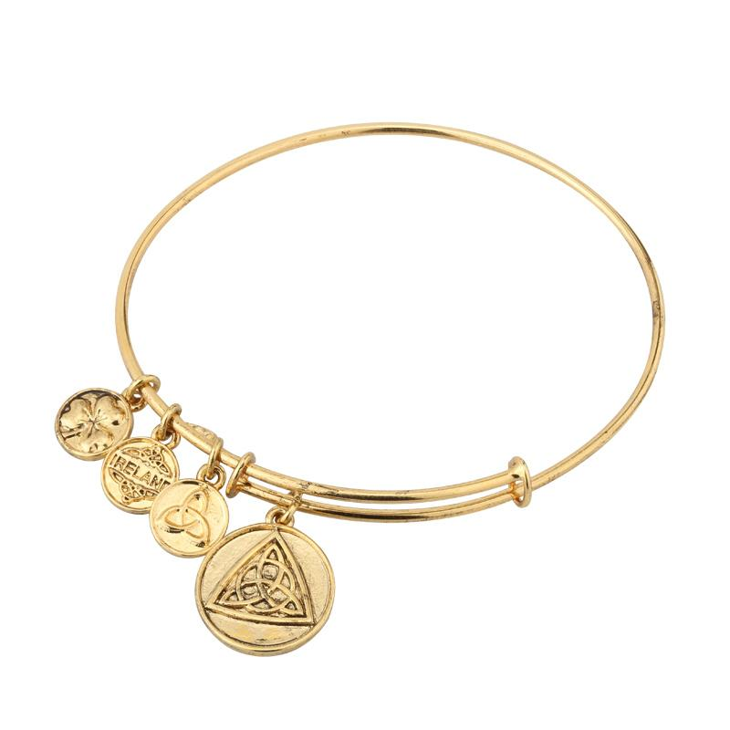 Celtic Knot Charm Expanding Antique Gold-Tone Bangle Bracelet