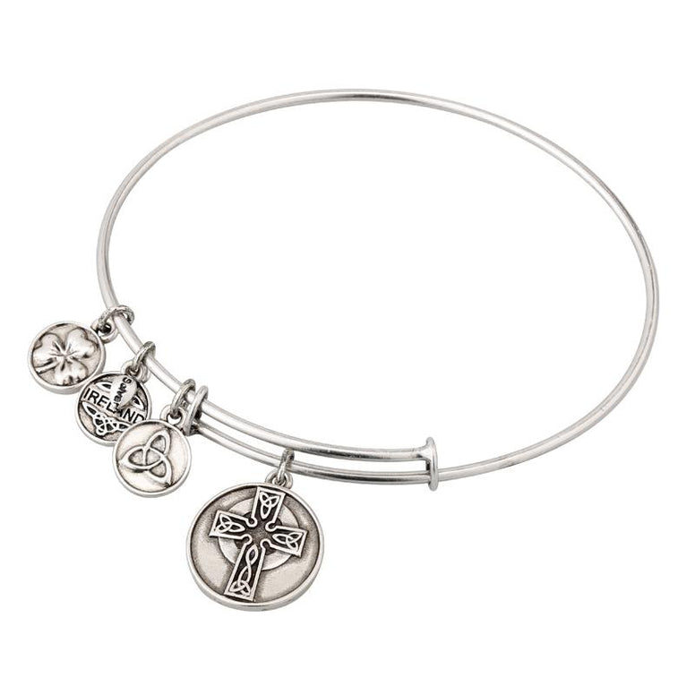Celtic Cross Expanding Antique Silver-Tone Bangle Bracelet