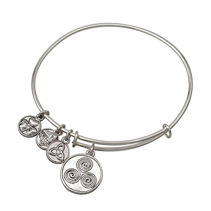 Celtic Triple Spiral Charm Expanding Antique Silver-Tone Bangle Bracelet