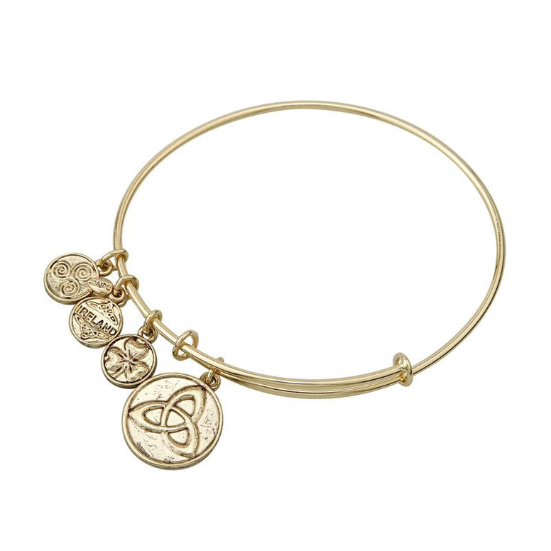 Trinity Knot Charm Expanding Antique Gold-Tone Bangle Bracelet