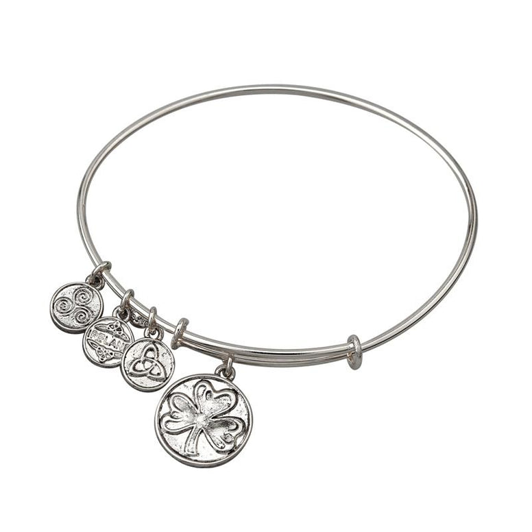 Shamrock Charm Expanding Antique Silver-Tone Bangle Bracelet
